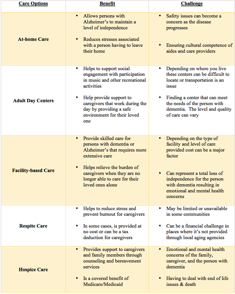 Caregiving Options Chart
